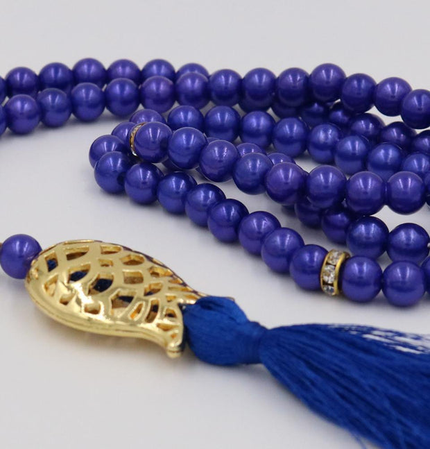 Islamic Tesbih Acrylic Pearl Prayer Beads with Tulip Tassel 99 Count Indigo