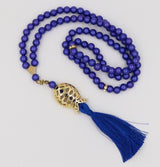 Modefa Tesbih Indigo Islamic Tesbih Acrylic Pearl Prayer Beads with Tulip Tassel 99 Count Indigo
