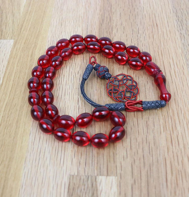 Modefa Tesbih Luxury Islamic Tesbih Real Amber & Sterling Silver Kazaz Tassel with 33 Count Large Red Oval Beads