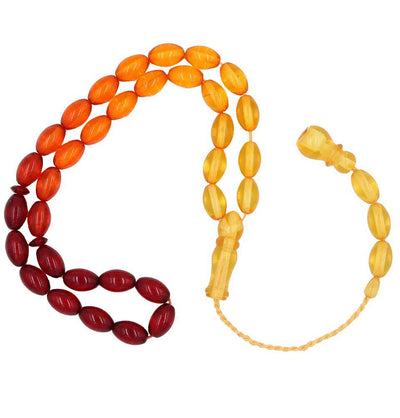 Modefa Tesbih Luxury Islamic Tesbih Red/Orange/Yellow Beirut Amber with 33 Count Large Oval Beads