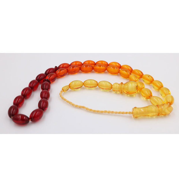 Luxury Islamic Tesbih Red/Orange/Yellow Beirut Amber with 33 Count Large Oval Beads