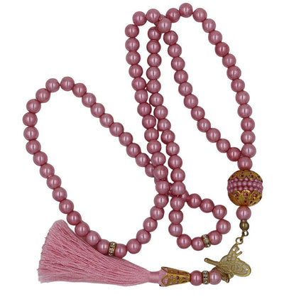Modefa Tesbih Pink Islamic Tesbih Acrylic Pearl Prayer Beads with Tughra Tassel 99 Count Pink