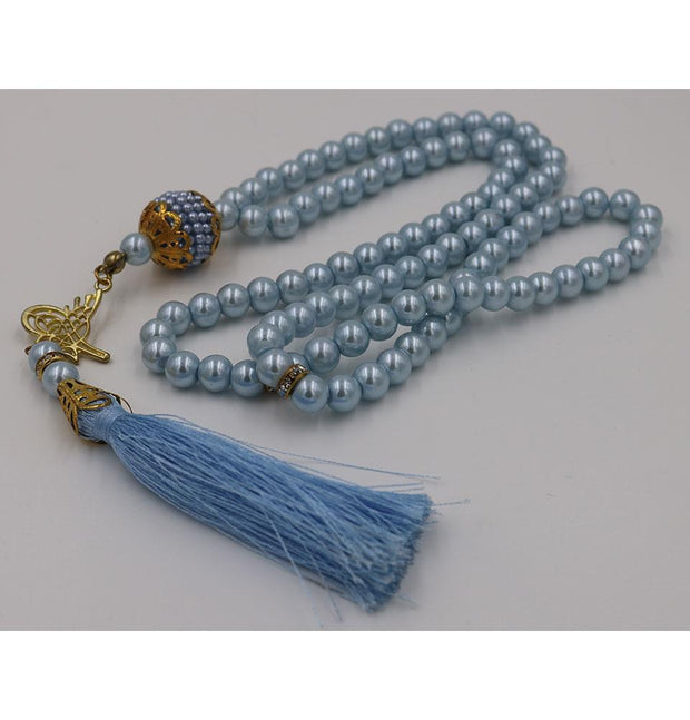 Modefa Tesbih Powder Blue Islamic Tesbih Acrylic Pearl Prayer Beads with Tughra Tassel 99 Count Powder Blue