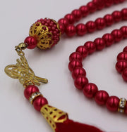 Modefa Tesbih Red Islamic Tesbih Acrylic Pearl Prayer Beads with Tughra Tassel 99 Count Red
