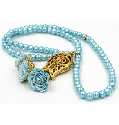 Modefa Tesbih Turquoise Islamic Tesbih Acrylic Pearl 99 Count Prayer Beads with Rose & Tulip Tassel - Turquoise