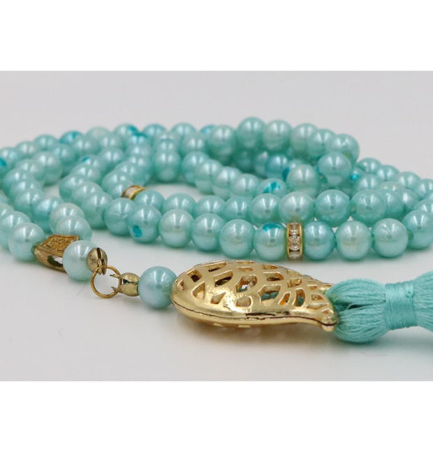 Islamic Tesbih Acrylic Pearl Prayer Beads with Tulip Tassel 99 Count Turquoise