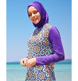Modefa Two Piece Full Coverage Modest Swimsuit - Geometric Purple