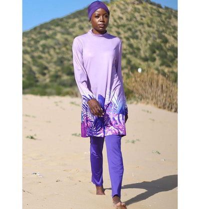 Modefa Two Piece Full Coverage Modest Swimsuit - Purple