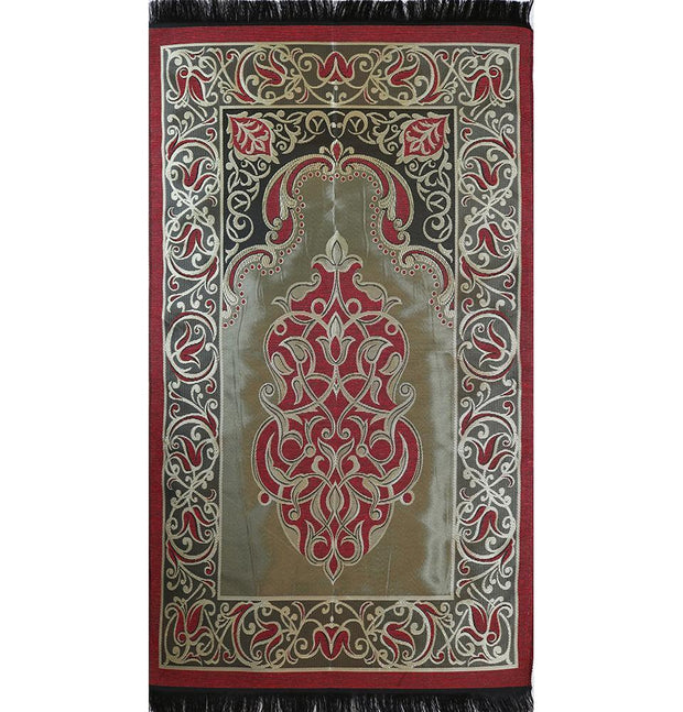Modefa USA LLC Prayer Rug Taffeta Floral Islamic Prayer Mat - Red - Modefa