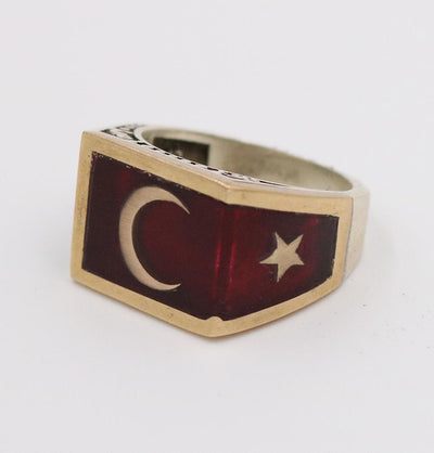 Men's Silver Ring Ottoman Red Enamel Crescent Moon & Star 5223