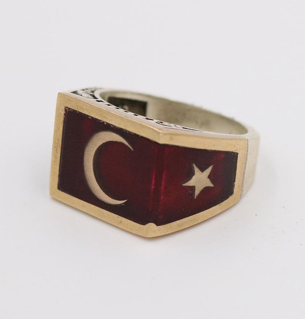 Modefa USA LLC ring Men's Silver Ring Ottoman Red Enamel Crescent Moon & Star 5223