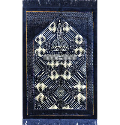 Modefa USA Prayer Rug Blue Lux Plush Regal Prayer Rug Blue