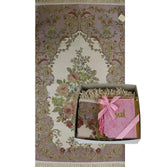 Modefa USA Prayer Rug Luxury Thin Embroidered Floral Lavanta Prayer Mat Gift Box - Pink