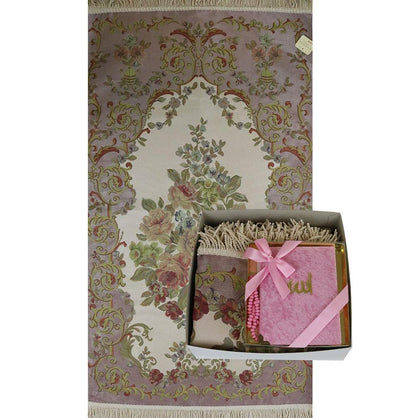 Luxury Thin Embroidered Floral Lavanta Prayer Mat Gift Box - Pink