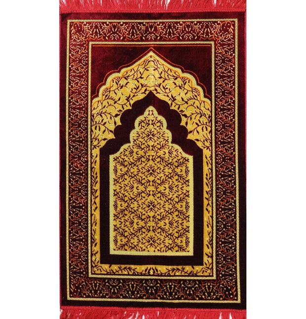 Modefa USA Prayer Rug Velvet Vined Arch Islamic Prayer Rug - Red