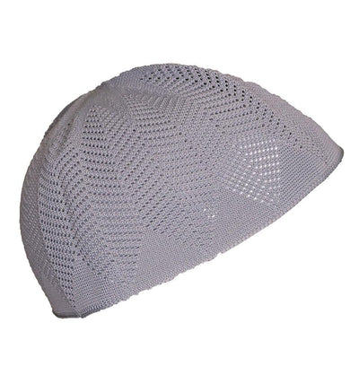 Nida Kufi White Islamic Men's Knit Kufi Cap Grey