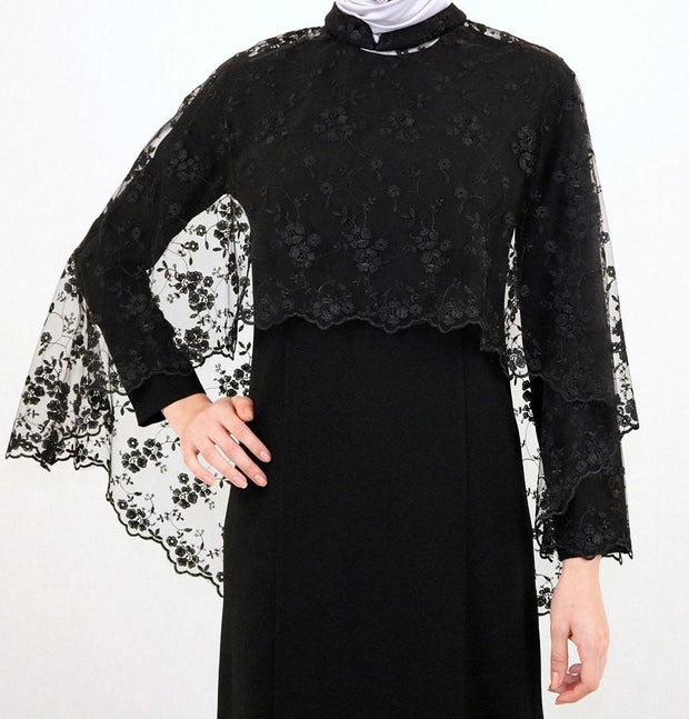 Puane Dress Puane Formal Dress with Lace Cape 4786 Black