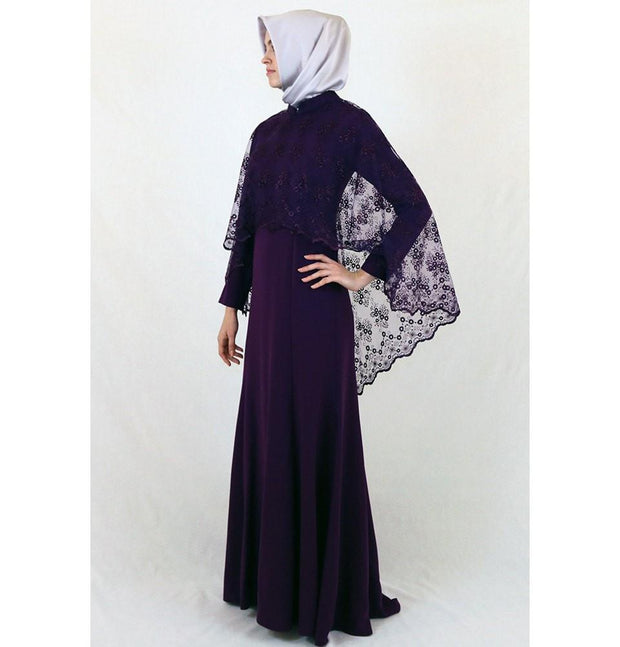 Puane Dress Puane Formal Dress with Lace Cape 4786 Purple