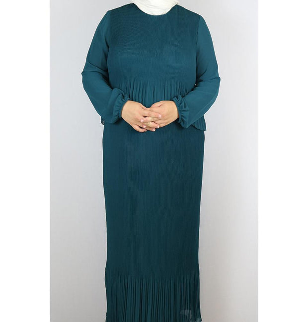 Puane Modest Plus Size Dress 9002 Teal