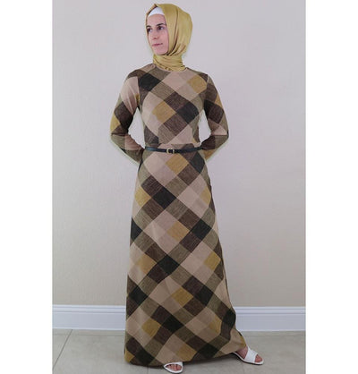 Puane Dress Puane Islamic Women's Turkish Long Corduroy Colorblock Dress 481401 Brown - Modefa