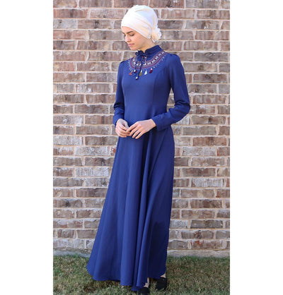 Puane Dress Puane Modest Tassel Dress 8279 Blue - Modefa