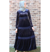 Puane Dress Puane Modest Velvet Dress 8290 Blue