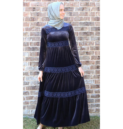 Puane Dress Puane Modest Velvet Dress 8290 Blue - Modefa