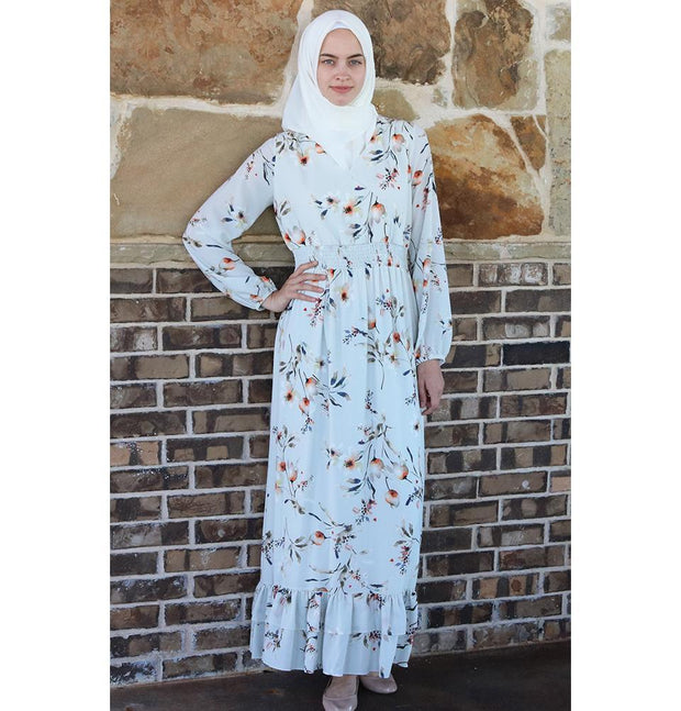 Puane Dress Puane Modest Floral Dress 2607 Cream