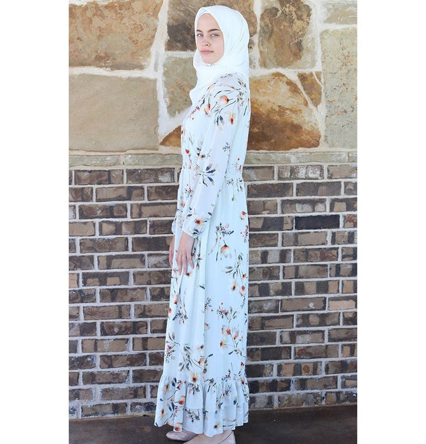 Puane Modest Floral Dress 2607 Cream