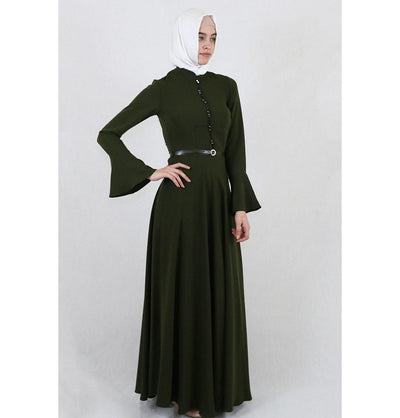 Puane Dress Puane Formal Dress with Bell Sleeves 4809 Green