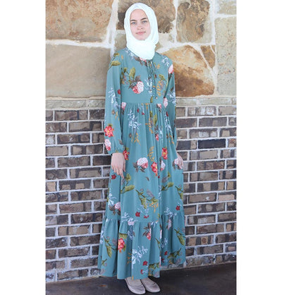 Puane Modest Floral Dress 2621 Green