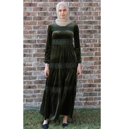 Puane Dress Puane Modest Velvet Dress 8290 Green