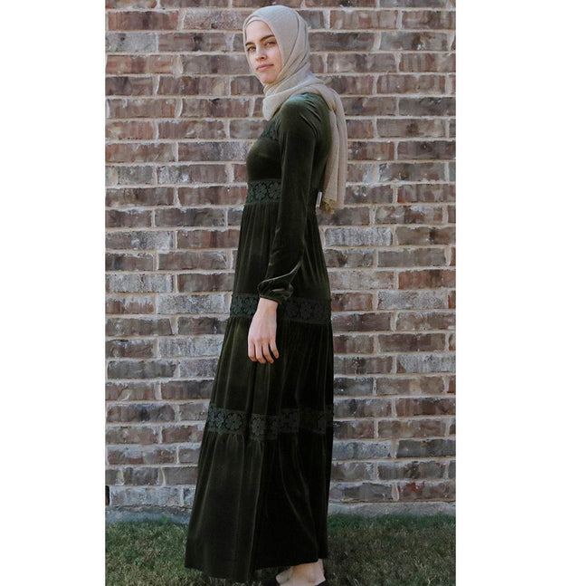 Puane Dress Puane Modest Velvet Dress 8290 Green - Modefa