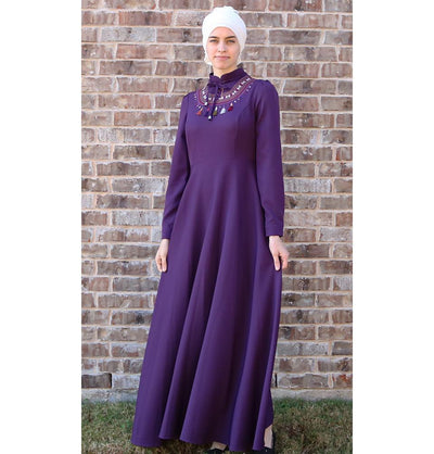 Puane Dress Puane Modest Tassel Dress 8279 Purple - Modefa