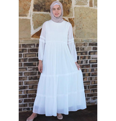 Puane Modest Polka Dot Dress 2619 - White