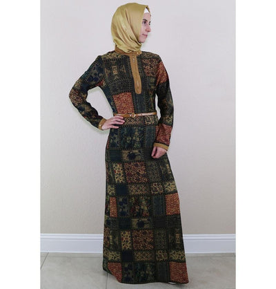 Puane Dress Puane Islamic Women's Turkish Long Corduroy Patchwork Dress 481702 Blue/ Green