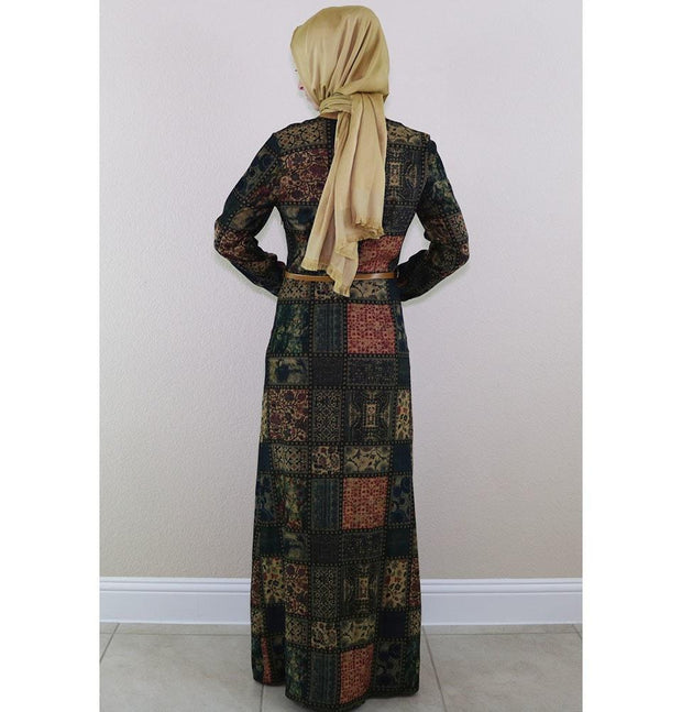 Puane Dress Puane Islamic Women's Turkish Long Corduroy Patchwork Dress 481702 Blue/ Green - Modefa