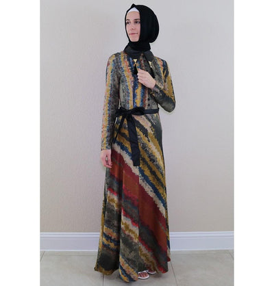 Puane Dress Puane Islamic Women's Turkish Long Corduroy Tie Dye Dress 482645 Multicolored - Modefa
