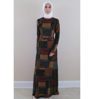 Puane Dress Puane Islamic Women's Turkish Long Corduroy Colorblock Stripes Dress 481402 Multi - Modefa