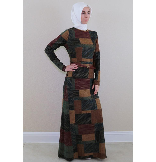 Puane Dress Puane Islamic Women's Turkish Long Corduroy Colorblock Stripes Dress 481402 Multi