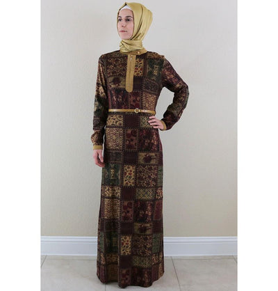 Puane Dress Puane Islamic Women's Turkish Long Corduroy Patchwork Dress 481701 Burgundy