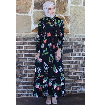 Puane Dress Puane Modest Floral Dress 2621 Black