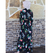 Puane Modest Floral Dress 2621 Black
