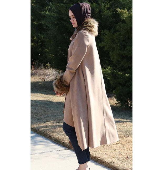 Puane Outerwear Puane Suede Poncho Coat with Fur 3131 Beige