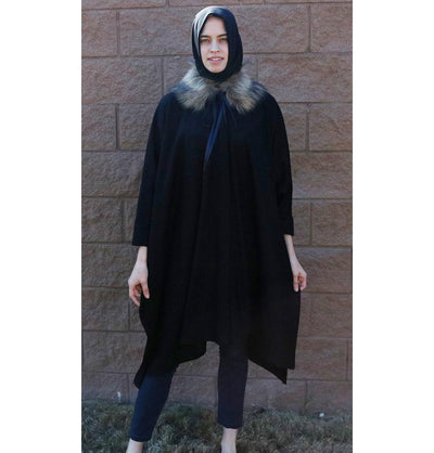 Puane Outerwear Puane Wool Touch Poncho Coat with Fur 3113 Black - Modefa