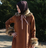Puane Outerwear Puane Suede Poncho Coat with Fur 3131 Brown