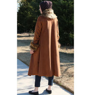 Puane Outerwear Puane Suede Poncho Coat with Fur 3131 Brown - Modefa