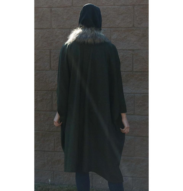 Puane Outerwear Puane Wool Touch Poncho Coat with Fur 3113 Dark Green