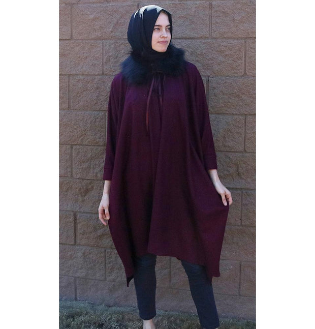 Puane Outerwear Puane Wool Touch Poncho Coat with Fur 3113 Maroon - Modefa