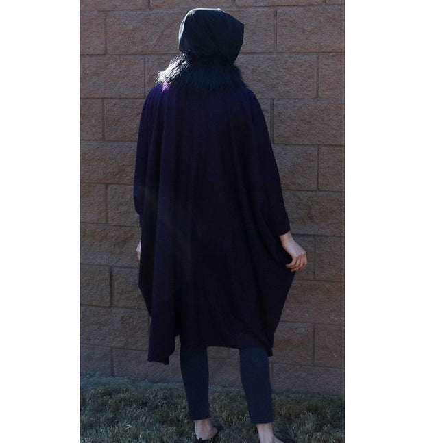 Puane Outerwear Puane Wool Touch Poncho Coat with Fur 3113 Purple - Modefa